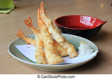 Tempura shrimp with tempura dipping sauce.