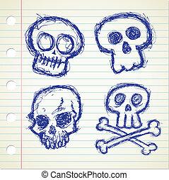 set of grunge skull