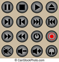 Set of web icons, buttons audio