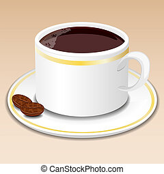 Cup of coffee, vector illustration.