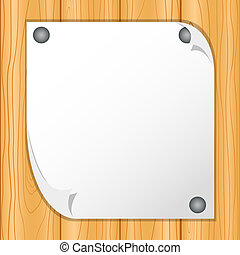 A blank sheet of paper attached on wooden wall - vector