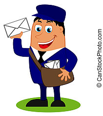funny postman with bag and letter - Vector illustration with...