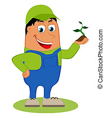 Happy gardener, vector illustration isolated on white...