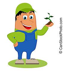 Happy gardener, vector