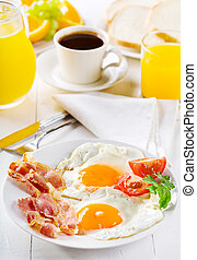 breakfast with fried eggs