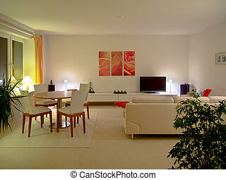 living room by night - modern living and dining room by...