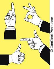 vintage gesturing hand - set of vintage gesturing hand