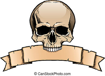 Colored human skull with ribbon banner - Colored human skull...