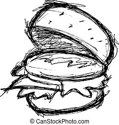 hand drawn hamburger