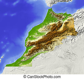 Morocco, shaded relief map - Morocco. Shaded relief map....