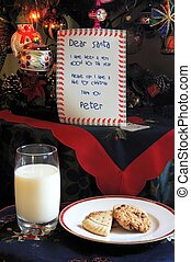 Dear Santa letter with cookies. - Dear Santa letter, milk...