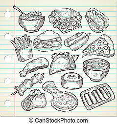 various food in doodle style