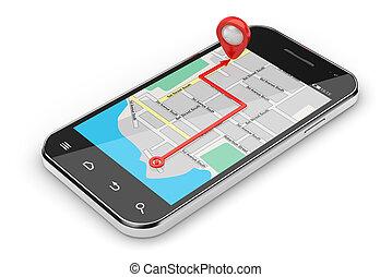 Navigation concept - 3d illustration of smartphone...