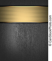Grunge metal Background with golden name plate. Design...