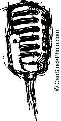 vintage microphone in doodle style