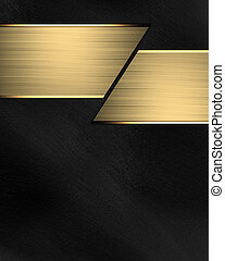 Black background with a gold stripe for text. Design...