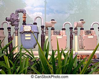 three gas meters