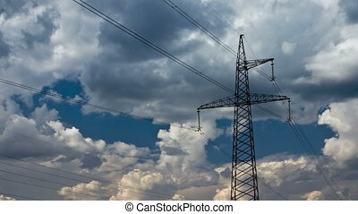 Electricity pylon on blue sky background DSLR, Raw quality...