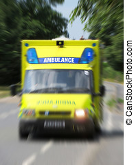 Emergency ambulance - Ambulance in road with zoom effect...