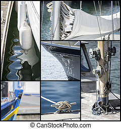 Detail shot collage of yacht sailboats - Collection of...