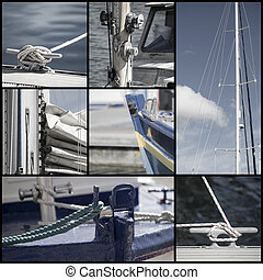 Retro look collection of yacht sailboat details - Collection...