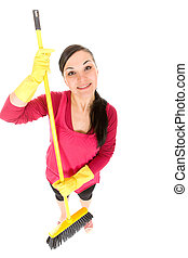 housework - attractive brunette woman doing housework