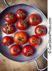 Rustic tomatoes Top view Vintage purple toning - Rustic...