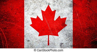 Grunge canadian flag with scratched stone texture