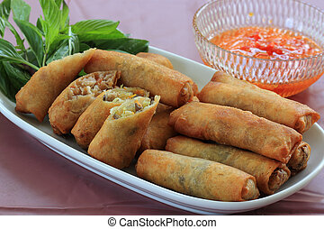 Deep Fried Eggroll Thai-Chinese food