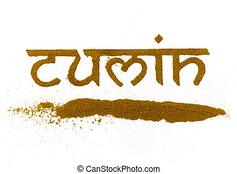 cumin - isolated cumin curry spice written in letters