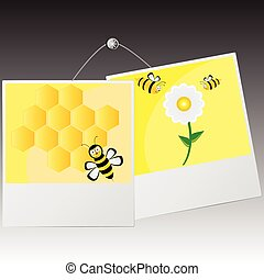 photo frame with cute bee vector illustration