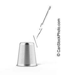thimble and broken needle isolated on a white background