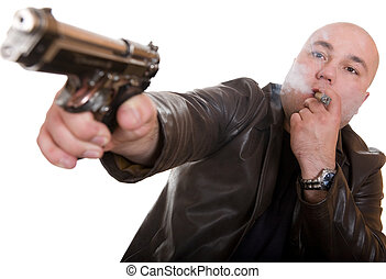 man with gun - elegant gangster isolated on white background