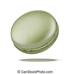 Green macaron isolated on a white background