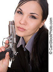 woman with gun - attractive brunette woman with gun on white...