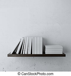 shelf with white books isolated on a white background