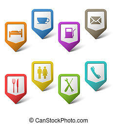 Colorful set pointers for services vector eps 10