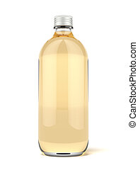 Brown glass beer bottle isolated on a white background