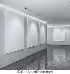 White Gallery Interior. 3d render