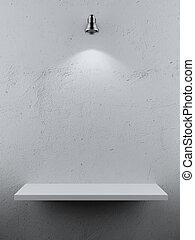 Empty Shelf spot light isolated on a white background