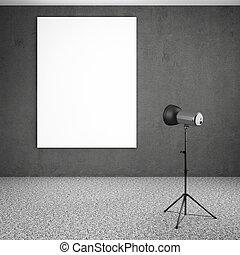 spotlight lighting blank white board 3d render