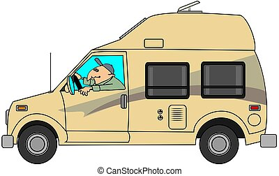 Camper van - This illustration depicts a man driving a class...