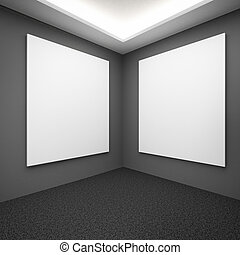 Interior with grey walls and blank frames 3d render