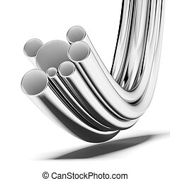 Stack of steel pipes isolated on a white background