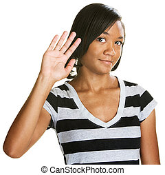 Cute Teen Waving - Single cute teenage female waving her...