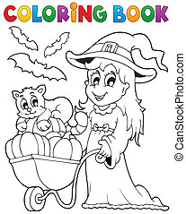 Coloring book Halloween image 2 - eps10 vector illustration.
