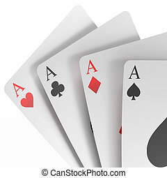 3d render of four aces