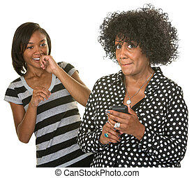 Embarrassed Lady with Phone - Embarrassed mature woman...