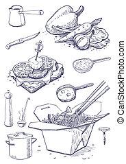 Vintage set of food and kitchen utensils