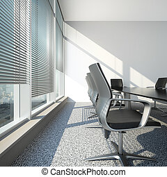 interior with blinds and office table 3d render